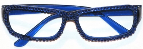 Accessories Fashion Blue Frame Glasses With Rhinestones