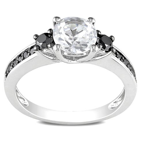 Sterling Silver Created White Sapphire Round Black Diamond Ring