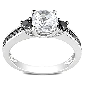 Sterling Silver 1 3/8 CT TGW Created White Sapphire 1/3 CT TDW Round Black Diamond Fashion Ring