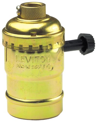 Leviton 7070-PG Aluminum Shell Incandescent Lampholder, Removeable Turn Knob, 2-Circuit, 1/8 Ips Tapped Bushing With Set Screw, For Controling Two Sockets, Brass