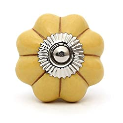 Knobs & Hooks Ceramic Cabinet Knob; Yellow+Silver; Set of four pieces