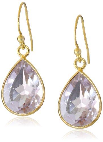 Light Amethyst Pear Shape Bezel In Gold Over Sterling Silver Wire Drop Earrings