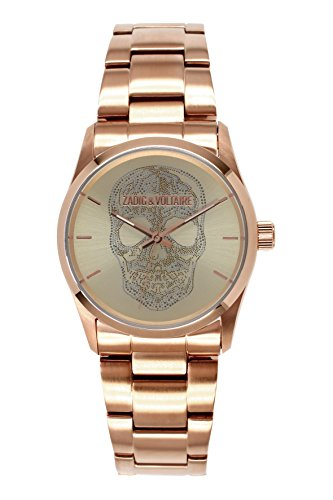 Zadig Voltaire ZV &031/2TM Rock Unisex Watch Analogue Quartz Golden Dial Steel Plated Bracelet-Pink