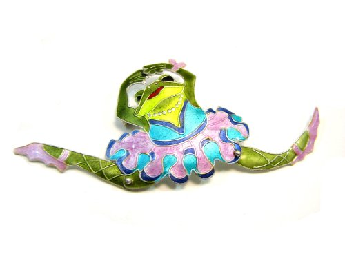 Dancing Frog Ballerina Enamel Over Sterling Pin / Brooch