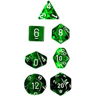 Polyhedral 7Die Translucent Dice Set  Green Picture