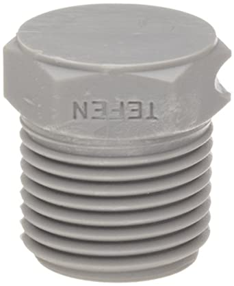 Tefen Nylon 6/6 Pipe Fitting, Hex Plug, Gray, NPT Male