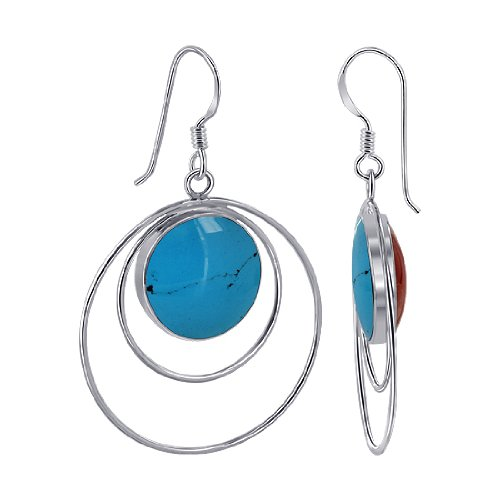 EMES062 Sterling Silver 14mm Round Double Sided Reconstituted Turquoise and Simulated Coral Wired design French Ear Wire Dangle Earrings