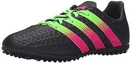 adidas Performance Ace 16.3 TF J Soccer Shoe (Little Kid/Big Kid),Black/Green/Shock Pink,2 M US Little Kid