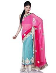 Chhabra555 Blue Georgette One Minute Saree