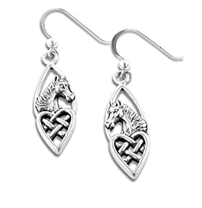 Celtic Knot Heart and Horse Head Sterling Silver Earrings