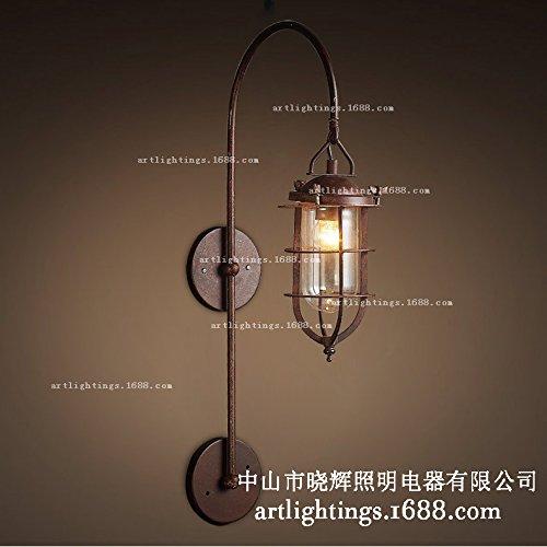 Applique in ferro battuto d'epoca parete lampada americana balcone vento Edison lampada da café bar parete delle industrie creative 380 (mm)