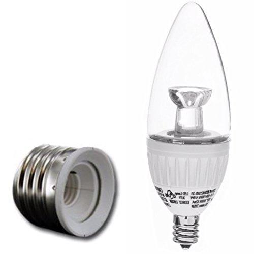 4.9-Watt Led Chandelier Soft White (3000K) Equal To 40-Watts Regular - With Medium Socket Extender -2-Pack