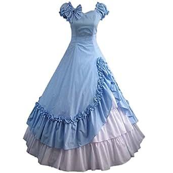 Partiss Womens Satin Ruffles Gothic Wedding Party Dress,X-Small, Blue