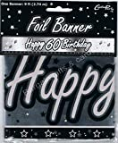 BLACK & SILVER HAPPY 60TH BIRTHDAY BANNER - 9FT (REPEATS 3 TIMES)