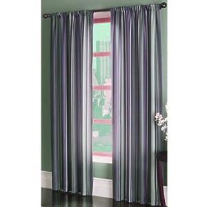Set Of 2 Striped Gray Purple Curtains 84 L