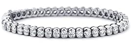 8.50 ct Ladies Round Cut Diamond Tennis Bracelet In Bazel Setting In 18 Karat White Gold