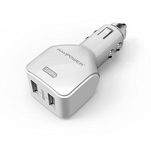 RAVPower カーチャージャー 2ポート24W/4.8A  iPhone iPad Android スマホ モバイルバッテリー usb充電器 車載充電 白