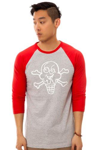 Ice Cream Men's Cones & Bones Baseball Tee Extra Large Heather Gray (Ice Cream Mens Clothing compare prices)