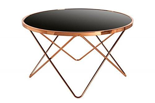 DuNord Design Couchtisch Beistelltisch PARIS 85cm Art Deco Design Glas schwarz / kupfer Retro