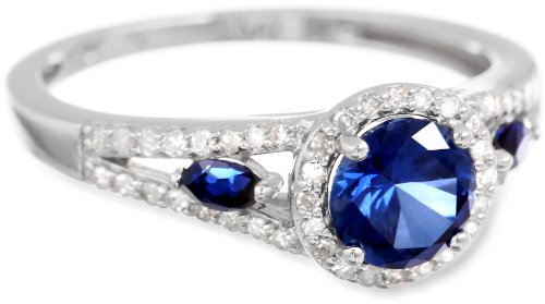 Sterling Silver Round Created Sapphire and Diamond-Accented Ring, Size 7
