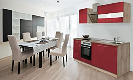 Respekta Kitchen Unit 210 cm Sonoma Oak Rough Sawn Front Red with Designer Angle Hood
