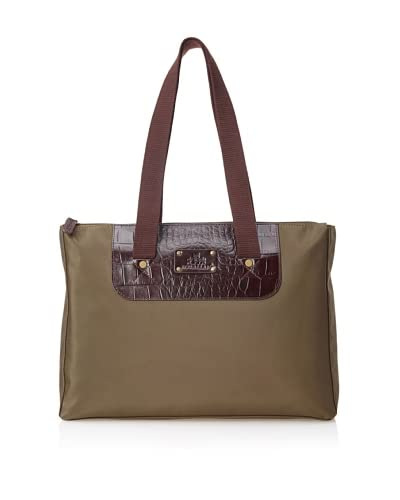 Rowallan of Scotland Women's Lois Zip-Close Tote, Olive/Croco Trim
