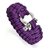 "Cosmos ® 8"" Purple Color with Stainless Steel Bow Shackle Survival Bracelet Strap + Free Cosmos Cable Tie"