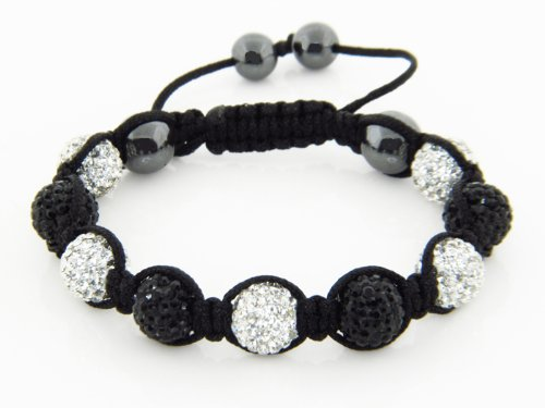 Nambeads © CLEAR/WHITE & BLACK Swarovski Crystal Bead SHAMBALLA BRACELET with 9 Iced out Disco ball beads covered in crystals and 4 highly polished Hematite beads. Beautiful handmade high quality Celebrity Fashion bracelet. Check our range of colours. sil