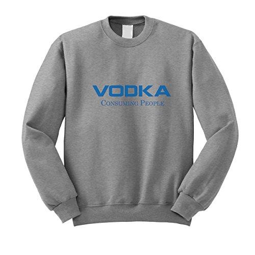 lucky t-shirts discount duty free Vodka Absolut Finlandia Smirnoff Consuming People Fun Logo Grey Sweatshirt M