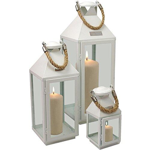 3tlg-Modernes-Laternen-Set-in-Wei-H244155cm-Metalllaterne-Gartenlaterne-Laterne-Windlicht-mit-Aufhngung-Metallgestell-mit-Glasfenstern-Kerzenhalter-Gartenbeleuchtung-Dekoration
