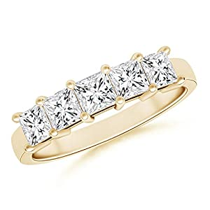 Five Stone Princess Diamond Wedding Band in 14K Yellow Gold