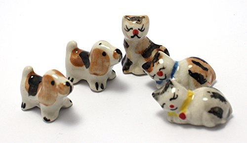 Mini Dog Cat Figurine Dollhouse Miniatures Animals Ceramic Collectible Figurine set 5 pcs. (Axis And Allies Starter Kit compare prices)