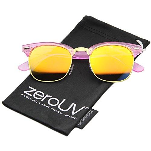 zerouv-classic-transparent-frame-color-mirror-square-lens-horn-rimmed-sunglasses-49mm-pink-orange-mi