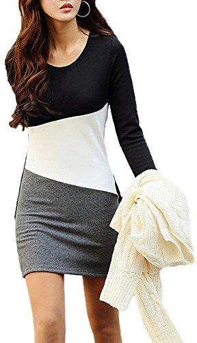 a Blocchi di Colore Patchwork Casual Fleece Lined Warm Mini Corti Corto T-Shirt Basic Estate Vestito Abito XXL Nero