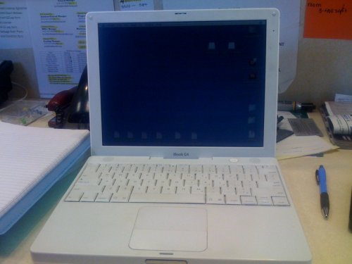 Used iBook G4/1.33 GHz, 1.5 GB of RAM, 40 GB internal drive, internal Combo Drive, internal 56k modem, Airport Extreme and Bluetooth installed, 12 display