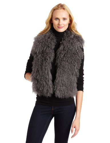 MICHAEL Michael Kors Women''s Mongolian Fur Vest, Gray, Small