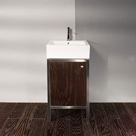 Lacava Free-standing under-counter vanity made of brushed stainless steel frame and wooden walls, one door with a brushed nic