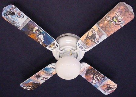 """Motocross Dirt Bike Ceiling Fan (Multicolored) (12.5""""H x 42""""W x 42""""D)"""