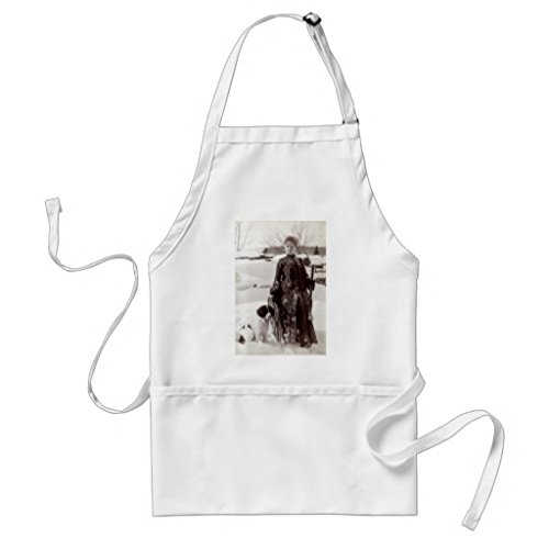 Sunningq 1890 Woman And Her Brittany Hunting Dog Adult Apron