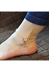 Voberry Hot Sale Butterfly Tassel Rose Gold Titanium Steel Chain Women Barefoot Sandals Ankle Bracelet Anklet Foot Chain Jewelry (C)