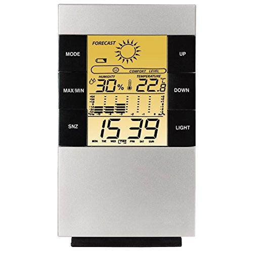 Hama-LCD-Thermo-Hygrometer-TH-200-mit-Uhr-Datum-und-Wecker