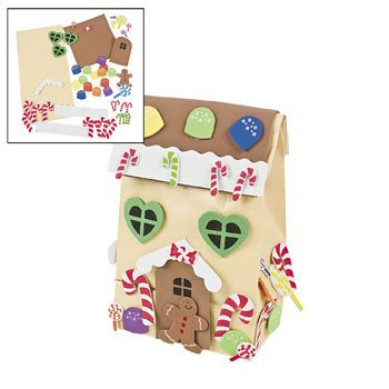 Gingerbread House Bag Craft Kit for Kids-Makes 12 - 1
