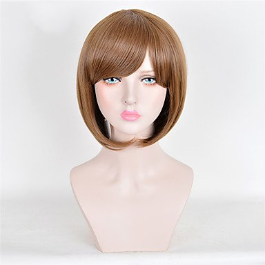 Meylee Parrucche DFGM donna moda qualità Top di breve parrucca marrone sintetico parrucche , brown