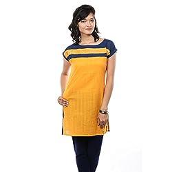 Saamarth Impex Neck Bottom Worked Yellow Color Half Sleeves Medium Reversible Cotton Kurtis SI-2094