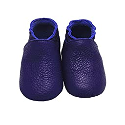 Mejale Baby Infant Toddler Shoes Anti-slip Soft Sole Leather Moccasins Pre-walker (purple,6-12 months)