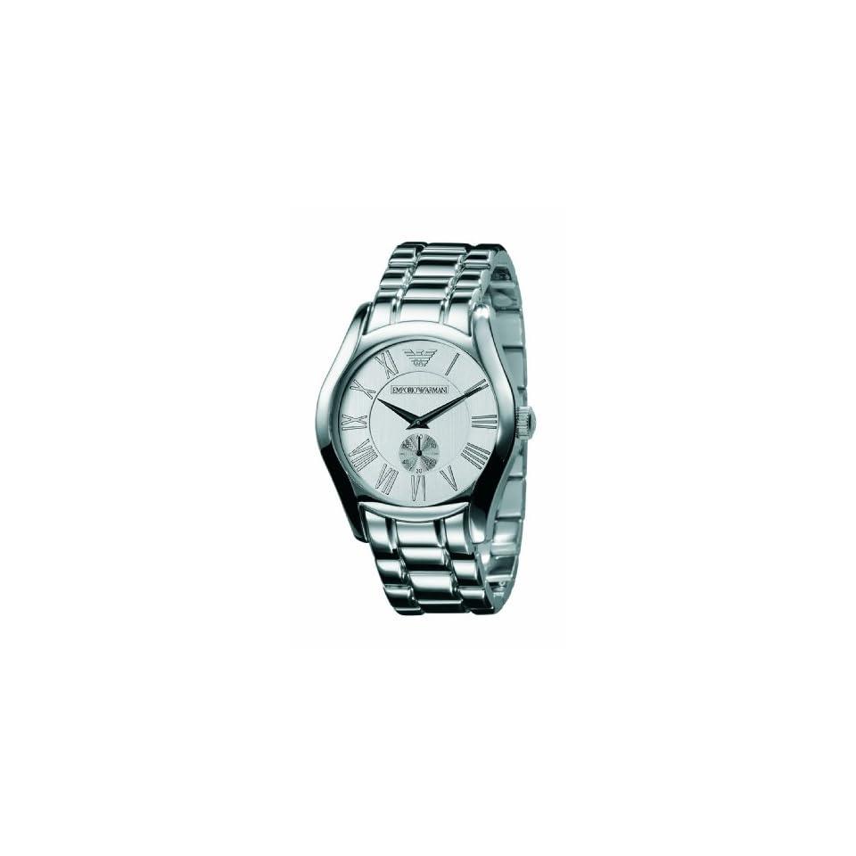 Emporio Armani Mens AR0647 Classic Stainless Steel Silver Dial Quartz Watch
