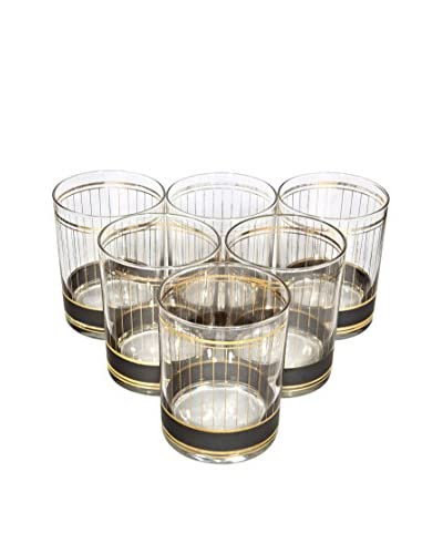 2 B Modern 1960s Set of 6 Old Fashioned Tumblers, Gilt/Brown