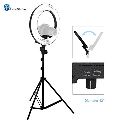 LimoStudio-12-Ring-Light-Dimmable-Fluorescent-Continuous-Lighting-Kit-5500K-Photography-Photo-Studio-Light-Stands-with-Carrying-Case-AGG1773