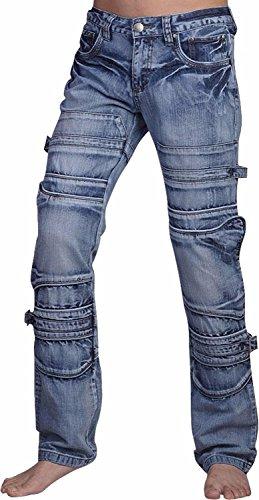 Jeansian Moda Pantaloni Casual Uomo Jeans Denim Sottile Uomini J007 (W34, J001_Blue)