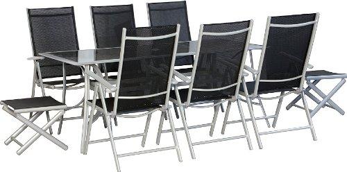 IB-Style – Top XL-Gartenmöbel 9-tlg. Gartengarnitur Sitzgruppe Alu / Textilen – Tisch 180 x 90 cm Schwarzglas günstig